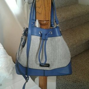 London Fog Handbag New /tweed and midnight blue tr